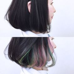 """Elegance at the highest level. """"Inner color"""" sample book suitable for adults , Dark Hair With Highlights, Hair Color Dark, Pastel Hair, Purple Hair, Hair Color Balayage, Ombre Hair, Peekaboo Hair, Hair Looks, Dyed Hair"""