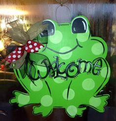 Frog Door Hanger by WhimsyGirlArt on Etsy https://www.etsy.com/listing/167214262/frog-door-hanger