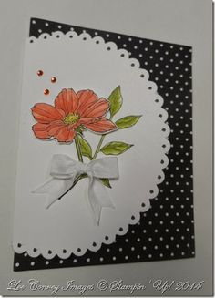 handmade thank you card ... opens to the left with a big circle wrap ... pretty flower image ... cute polka dot paper ... delightful card ... Stampin' Up!