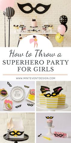Use these fun ideas as inspiration for a Girl's Superhero Birthday Party in a pretty pink and yellow theme! With DIY backdrop, decor, food ideas and more. Get all of the details now at minteventdesign.com! Girl Birthday Decorations, Girls Birthday Party Themes, Kids Birthday Party Invitations, Superhero Birthday Party, 50th Birthday Party, Birthday Ideas, Event Ideas, Fun Ideas, Party Ideas