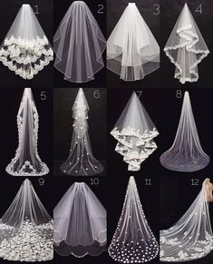 Pick your wedding veiWhich veil is your favorite?Pick your wedding veil because there are so many different styles and lengths to choose from Let us know whether you are getting married in a church or on a beach are you going for a veil? Dream Wedding Dresses, Bridal Dresses, Wedding Gowns, Bridal Veils, Long Wedding Veils, Wedding Viel, Diy Wedding Veil, Wedding Dress Sketches, Wedding Shoes Bride
