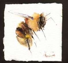 Flying Honey Bee Painting original watercolor by ORIGINALONLY