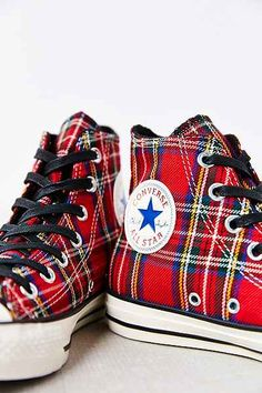 Converse High Tops / Chuck Taylor All Star Red Tartan Womens Sneakers - Urban Outfitters Converse Outfits, Mode Converse, Converse Shoes, Converse High, Mode Tartan, Tartan Plaid, Converse Chuck Taylor All Star, Chuck Taylor Sneakers, Ankle Boots