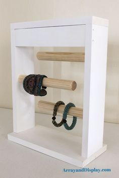 White Jewelry Display Bracelet Stand - could make this for a craft fair.