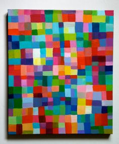 Big Abstract Painting / ORIGINAL PAINTING/ Geometric shapes/ Colored squares / blue red yellow green pink orange Purple Greenish Colors. $200.00, via Etsy.