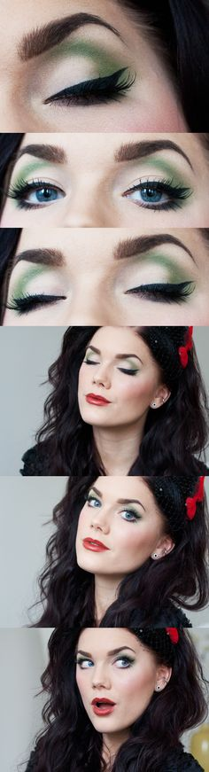 bright eyes and false lashes and birdcage veil