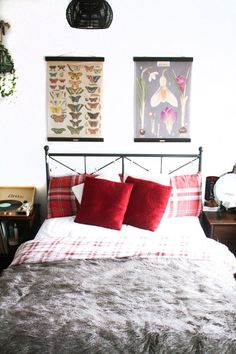 Cosy bedroom inspiration red and fur banjo in the bedroom Cityscape Bliss // Creative Home Ikea Hemnes bed vintage posters