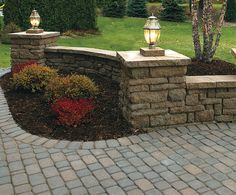 Retaining Wall and Freestanding Wall Block Idea & Photo Gallery - Enhance Companies - Brick Paver Installation and Sales - Jacksonville Gainesville Orlando Daytona St. Augustine Florida - Brick Paving and Hardscape Supply Outdoor Landscaping, Front Yard Landscaping, Outdoor Gardens, Outdoor Decor, Small Gardens, Driveway Entrance, Porch Entrance, Driveway Pavers, Driveway Lighting