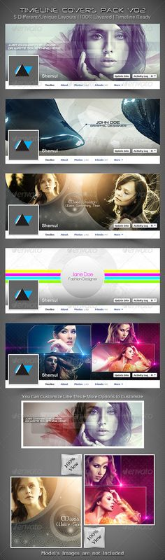 Timeline Covers Pack V02 #GraphicRiver Timeline Covers Pack V02 This is a Collection of 5 Simple, Creative, Unique, Slick, Sexy, Attractive & Stylish Facebook Timeline Cover Template. All of these are very useful for designers, developers, general users, photographers. Show & Present your designs, photographs, images in a Clean, Elegant & Decent way. Boost up your fans, sales & followers by putting these attractive templates on your Facebook Profile's Timeline or Facebook Fan Page's…