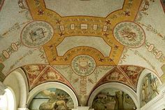 East corridor, Great Hall. Vault mosaic with center trophy representing architecture (Latrobe and Walter); left trophy representing natural philosophy (Silliman and Cooke); right trophy representing m