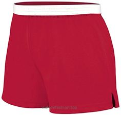 Soffe Juniors Athletic Short, Red, Small  BUY NOW     $7.99      50/50 Jersey knit athletic shorts by Soffe©  Classic cheerleader cut shorts with V-notch  Elastic waistband   Casual short featuring exposed elastic waistband  ..