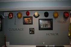 Basement Game Room, Firefighter-themed [for F/F Husband :)] game room, Living Rooms Design