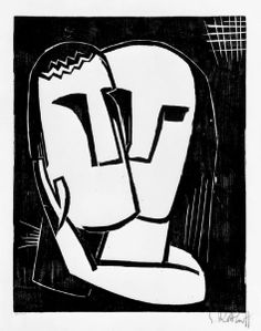 Karl Schmidt-Rottluff. Liebende (Loving). This print was banned by the Nazi regime and exhibited at the Degenerate art exhibition in Munich in 1937.