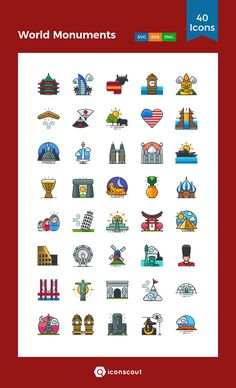 World Monuments   Icon Pack - 40 Filled Outline Icons