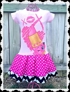 girls Shopkins dress Lippy Lips Dress by BlossomBlueBoutique Fete Shopkins, Shopkins Bday, Shopkins Outfit, Emma Clothing, Kids Outfits, Cool Outfits, Fashion Boutique, Girl Birthday, Girl Fashion
