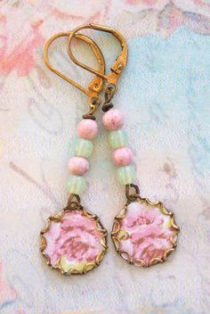 Pink rose.shabby chic,floral,beaded earrings. tiedupmemories