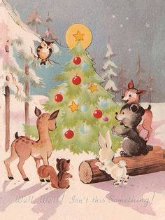 Vintage Greeting Card Christmas Tree Forest Animals Deer Owl BearCute 1940s a137 | eBay
