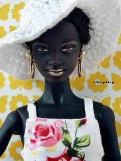 Black doll with dark skin...almost black. Gorgeous.