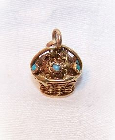 "ANTIQUE VICTORIAN 14K Gold & Turquoise ""Basket of Flowers"" Charm!"