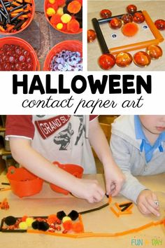 Halloween contact paper art lets kids explore transient, sensory art in such an engaging way! It's the perfect addition to your Halloween activities for preschoolers. Just put out the materials and the kids will love the Halloween-themed invitation to play! Halloween Science, Halloween Activities For Kids, Early Learning Activities, Preschool Activities, Toddler Crafts, Crafts For Kids, Enchanted Learning, Paper Child, Sensory Art