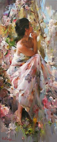 Michael Garmash, beautiful romantic lady painting, with flowers. Please also visit www. for colorful inspirational Prophetic Art and stories. Woman Painting, Painting & Drawing, Painting With Oils, Painting Classes, Painting Lessons, Art Prophétique, Prophetic Art, Inspiration Art, Fine Art