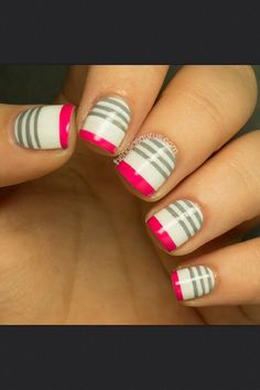 Cool & Trendy new Nail Art 2014 Get Nails, Fancy Nails, Love Nails, Pretty Nails, Pink Nails, Gorgeous Nails, Striped Nail Designs, Striped Nails, Cute Nail Designs