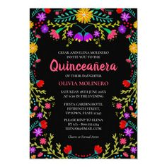 Quinceanera Mexican Fiesta Floral Black Birthday Invitation Mexican Invitations, Sweet Sixteen Invitations, Zazzle Invitations, Birthday Invitations, Quince Invitations, Quinceanera Planning, Quinceanera Themes, Quinceanera Invitations, Mexican Quinceanera Dresses