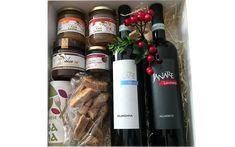 """Buone Feste Lorena in elegante confezione natalizia: - Vino rosso Aglianico """"La Guardiense""""; Vino rosso Piedirosso """"La Guardiense""""; Confettura Extra di Mela Annurca e Cannella da 180 g    Marmellata Extra di Arancia e Vaniglia da 180 g Ciocco Bu'® da 180 g Biscotti alle mandorle da 125 g Mandorle e nocciole pralinate da 40 g Biscotti, Wine Rack, Elegant, Wine Racks, Cookie Recipes"""