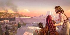Uma família cristã do primeiroséculo observando de um terraço soldados tentando destruir a muralha do templo