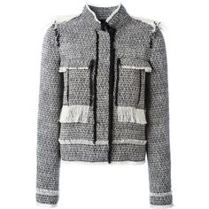Lanvin tweed jacket ($1,635) ❤ liked on Polyvore featuring outerwear, jackets, black, long sleeve jacket, lanvin jacket, tweed jackets, fringed tweed jacket and fringe jackets
