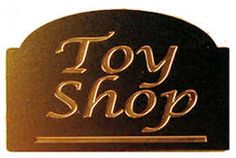 Toy shop sign - brass - $6.00 : S P MINIATURES - hand crafted dollhouse scale miniatures, S P MINIATURES - shop online for dollhouse scale miniatures