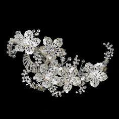 Silver Clear Swarovski Crystal Bead Rhinestone and Sequin Flower Hair Clip