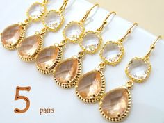 Peach Champagne Earrings  Set of 5 Opulent Gold by Crystalshadow