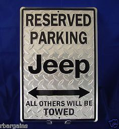JEEP Diamond Plate Reserved Parking Metal Tin Vintage Sign Garage Man Cave Decor