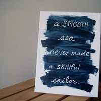 Blue sailor wall painting, nautical sign