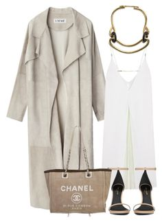 """""""Loewe coat"""" by thestyleartisan ❤ liked on Polyvore featuring Christopher Kane, Yves Saint Laurent, Chanel, women's clothing, women, female, woman, misses, juniors and slipdress"""