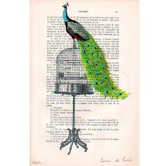 Dies ist ein Original Mischtechnik Kunstwerk : meine Originale Illustrationen wurden auf ein antikes Magazineseite gedruckt und Handbemahlt, die au...