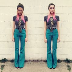 "Courtney from ""A Bevy Of"" in UO's bell bottoms #urbanoutfitters"