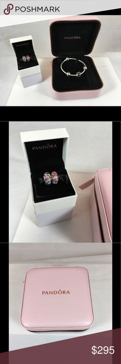 """NWT Pandora Tribute to Mom Gift Set + 2 Murano Pandora Tribute to Mom Bracelet Gift Set plus 2 Murano Charms. Includes 1 - Sparkling Heart Bracelet 7.9"""" #590743CZ 2 - Family and Love Sterling Silver and 14K Gold Clips #792110 1 - Tribute to Mom Charm #792070CZ Comes in a beautiful light pink leatherette gift box.  PLUS 2 - Flower Garden Murano Charms #791652 $380 Value Pandora Jewelry Bracelets"""