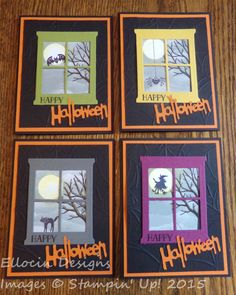Festive Halloween cards made with Bitty Boos and Tin of Cards stamp sets, and Hearth & Home Thinlits dies from Stampin' Up!