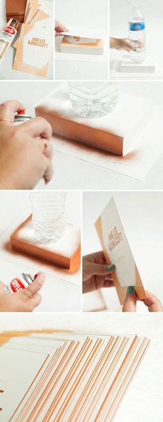 How to spray paint the edges of your wedding invitations