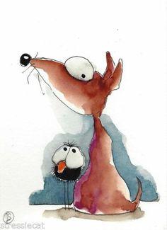 ACEO Original Painting Folk Art Illustration Whimsical Animal Crow Dog | Lucie Stewart