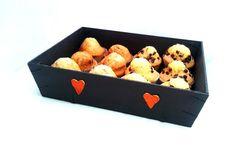 Corbeille Casier Recyclé Bois gris anthracite cœurs Mandarines : Cuisine et service de table par creasoize
