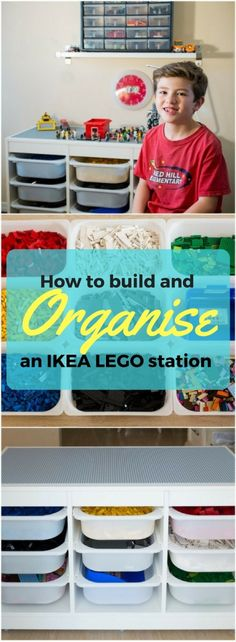 How to store and organize LEGO bricks - IKEA Hackers My nephew was overwhelmed and he let his LEGOs sit in his bedroom. I knew what I had to do for my nephew. I had to build Kai a new LEGO organizer. Lego Storage Brick, Lego Brick, Lego Duplo, Lego Technic, Table Lego Ikea, Boys Bedroom Ideas 8 Year Old, Lego Station, Ikea Trofast Storage, Trofast Hack