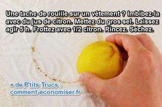 Il existe un truc simple pour enlever une tache de rouille sur un vêtement. Il suffit d'un peu de citron et de gros sel.  Découvrez l'astuce ici : http://www.comment-economiser.fr/truc-enlever-tache-rouille-vetement.html?utm_content=bufferf6891&utm_medium=social&utm_source=pinterest.com&utm_campaign=buffer