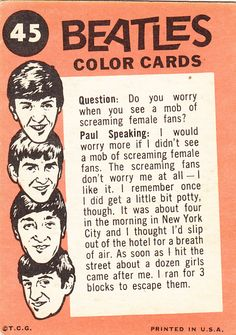 beatles color cards