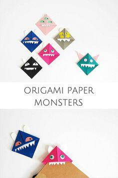 DIY Paper Origami Monsters. These make cute  back to school bookmarks for kids or paper puppets!