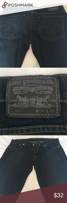 Levi's 511 jeans.  Like new! Perfect condition. 511 skinny.  99% cotton  1% elastane. Dark wash. Zip and button closure. Levi's Jeans
