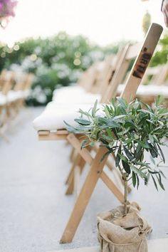 Pretty Ceremony Aisle Arrangements: Potted Plants