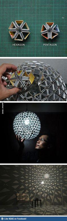 DIY cardboard geometric lamp